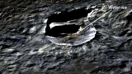 The small bright crater Oxo, 6 miles (10 kilometers) wide, is seen in this perspective view view from NASA's Dawn spacecraft. The elevation has been exaggerated by a factor of two.