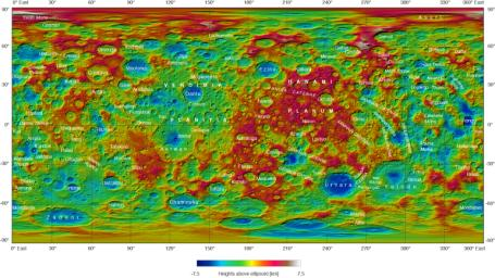 This topographical map of Ceres, made with images from NASA's Dawn spacecraft, shows all of the dwarf planet's named features as of September 2016. Dawn celebrated nine years since launch on September 27, 2016.