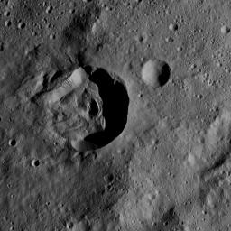 This view from NASA's Dawn spacecraft shows terrain on Ceres centered at approximately 34 degrees south latitude, 266 degrees east longitude -- between the large basins named Urvara and Yalode.