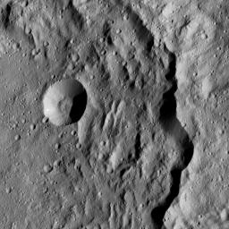 This view from NASA's Dawn spacecraft taken on May 29, 2016, shows the eastern rim of Gaue Crater on Ceres.