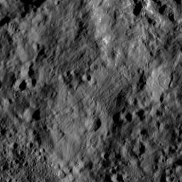 This view from NASA's Dawn spacecraft, captured on June 1, 2016, shows terrain on Ceres directly south of Kupalo Crater. The area is blanketed by smooth ejecta from Kupalo.