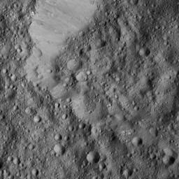 This view from NASA's Dawn spacecraft, captured on June 1, 2016, shows Rongo Crater, located near Ceres' equator.