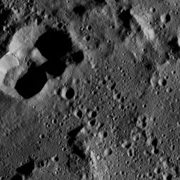 This view from NASA's Dawn spacecraft shows cratered terrain on the edge of the giant crater Yalode. This image was taken on June 1, 2016.