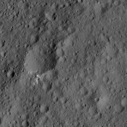 This image from NASA's Dawn spacecraft, taken on June 6, 2016, shows an area of Ceres that includes a small, bright crater.