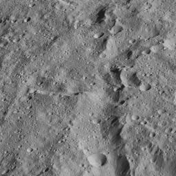 This image from NASA's Dawn spacecraft taken on June 13, 2016, shows terrain at the equator of Ceres. The image is centered at 0 degrees latitude, 291 degrees east longitude.