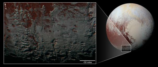 This area seen by NASA's New Horizons is south of Pluto's dark equatorial band informally named Cthulhu Regio, and southwest of the vast nitrogen ice plains informally named Sputnik Planitia.