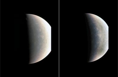 NASA's Juno was about 48,000 miles (78,000 kilometers) above Jupiter's polar cloud tops when it captured this view, showing storms and weather unlike anywhere else in the solar system.