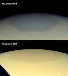 These two natural color images from NASA's Cassini spacecraft show the changing appearance of Saturn's north polar region between 2012 and 2016.
