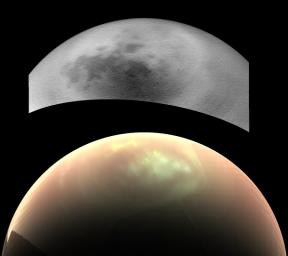 This comparison of two views from NASA's Cassini spacecraft, taken fairly close together in time, illustrates a peculiar mystery: Why would clouds on Saturn's moon Titan be visible in some images, but not in others?