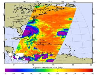 At 11:29 p.m. PDT on Oct. 6 (2:29 a.m. EDT on Oct. 7), NASA's Atmospheric Infrared Sounder (AIRS) instrument on NASA's Aqua satellite produced this false-color infrared image of Matthew as the storm moved up Florida's central coast.