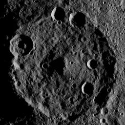Zadeni Crater on Ceres is featured in this image from NASA's Dawn spacecraft. This large southern-hemisphere crater is 79.5 miles (128 kilometers) in diameter and is named for an ancient Georgian god of bountiful harvest.