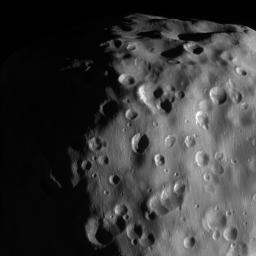 This zoomed-in view of Epimetheus, one of the highest resolution ever taken by NASA's Cassini spacecraft, shows a surface covered in craters, vivid reminders of the hazards of space.