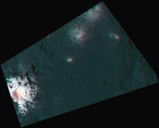 This 3-D image, or anaglyph, shows the center of Occator Crater, the brightest area on dwarf planet Ceres, using data from NASA's Dawn mission. The bright central area, including a dome that is 0.25 miles (400 meters) high, is called Cerealia Facula.