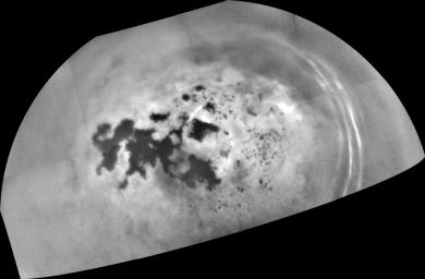 As it sped away from a relatively distant encounter with Titan on Feb. 17, 2017, NASA's Cassini spacecraft captured this mosaic view of the moon's northern lakes and seas.