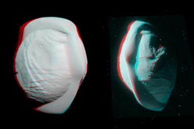 These stereo views, or anaglyphs, highlight the unusual, quirky shape of Saturn's moon Pan.This image is from NASA's Cassini spacecraft.