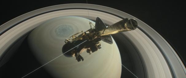 This illustration shows NASA's Cassini above Saturn's northern hemisphere prior to making one of its Grand Finale dives.