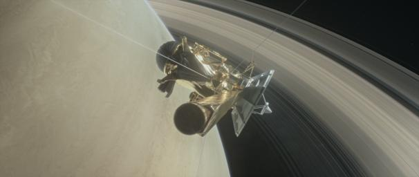 This illustration shows NASA's Cassini spacecraft about to make one of its dives between Saturn and its innermost rings as part of the mission's Grand Finale.