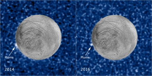 These composite images show a suspected plume of material erupting two years apart from the same location on Jupiter's icy moon Europa.