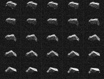 This composite of 25 images of asteroid 2017 BQ6 was generated with radar data collected using NASA's Goldstone Solar System Radar in California's Mojave Desert.