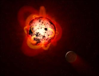 This illustration shows a red dwarf star orbited by a hypothetical exoplanet. By mining data from NASA's GALEX spacecraft, a team of astronomers identified dozens of flares at a range of durations and strengths.