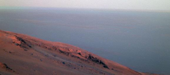 This false-color scene from NASA's Mars Exploration Rover Opportunity documents movement of dust as a regional dust storm approached the rover's location on Feb. 24, 2017.