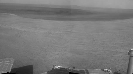 'Perseverance Valley' lies just on the other side of the dip in the crater rim visible in the left half of this 360-degree panorama from NASA's Mars Exploration Rover Opportunity.