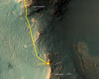 This graphic shows the route that NASA's Mars Exploration Rover Opportunity drove in its final approach to 'Perseverance Valley' on the western rim of Endeavour Crater.