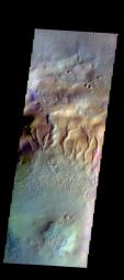 The THEMIS camera contains 5 filters. Data from different filters can be combined in multiple ways to create a false color image. This image from NASA's 2001 Mars Odyssey spacecraft shows part of the floor of an unnamed crater in Noachis Terra.
