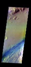 The THEMIS camera contains 5 filters. The data from different filters can be combined in multiple ways to create a false color image. This image from NASA's 2001 Mars Odyssey spacecraft shows part of the floor of Gale Crater.