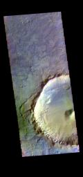 The THEMIS camera contains 5 filters. The data from different filters can be combined in multiple ways to create a false color image. This image from NASA's 2001 Mars Odyssey spacecraft shows an unnamed crater located on the floor of Newton Crater.