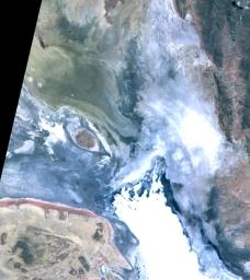 In the high plains of the Andes in Bolivia, Lake Poopo has virtually vanished, as shown in this image from NASA's Terra spacecraft. Once covering over 3,000 square kilometers, the lake essentially dried up in 2015.