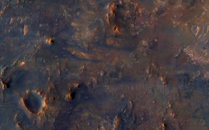 This pile of old rocks is an island surrounded by younger lava flows from Syrtis Major. This image was captured by NASA's Mars Reconnaissance Orbiter.