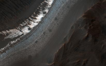 Holden Crater in southern Margaritifer Terra displays a series of finely layered deposits appearing beneath a cap of alluvial fan materials on its floor. This image was captured by NASA's Mars Reconnaissance Orbiter.