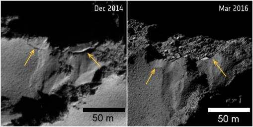 Several sites of cliff collapse on comet 67P/Churyumov-Gerasimenko were identified during ESA's Rosetta's mission. The yellow arrows mark the fractures where the detachment occurred.