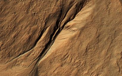 Gullies eroded into the steep inner slope of an impact crater at this location appear perfectly pristine near Gasa Crater, in this image captured by NASA's Mars Reconnaissance Orbiter (MRO).