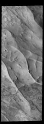 This image captured by NASA's 2001 Mars Odyssey spacecraft shows part of Dorsa Argentea in the south polar region of Mars.