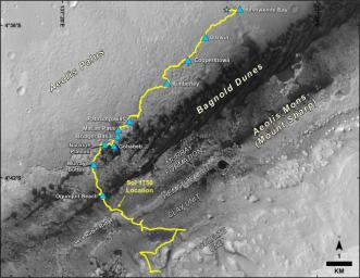 This map shows the route driven by NASA's Curiosity Mars rover, from the location where it landed in August 2012 to its location in July 2017, and its planned path to additional geological layers of lower Mount Sharp.