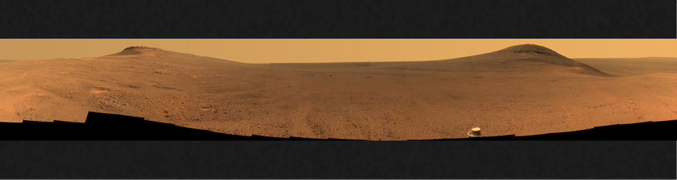 This June 2017 view from the Pancam on NASA's Opportunity Mars rover shows the area just above 'Perseverance Valley' on the western rim of Endeavour Crater.