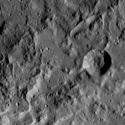 This image taken by NASA's Dawn spacecraft shows a region located next to the northwestern rim of Urvara Crater on Ceres. This terrain displays a rugged texture also found within Urvara.