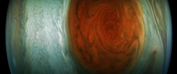 This enhanced-color image of Jupiter's Great Red Spot was created by citizen scientist Gerald Eichstadt using data from the JunoCam imager on NASA's Juno spacecraft.