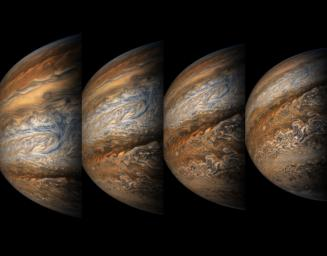 This series of enhanced-color images shows Jupiter up close and personal, as NASA's Juno spacecraft performed its eighth flyby of the gas giant planet on Sept. 1, 2017.