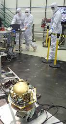 The Seismic Experiment for Interior Structure (SEIS) instrument for NASA's InSight mission to Mars undergoes a checkout in this photo taken July 20, 2017, in a Lockheed Martin clean room facility in Colorado.