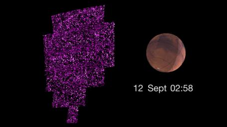 This image shows the sudden appearance of a bright aurora on Mars during a solar storm as observed by NASA's Maven orbiter. The purple-white color scheme shows the intensity of ultraviolet light seen on Mars' night side over the course of the event.