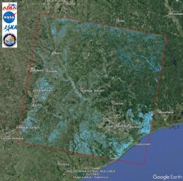 NASA's Advanced Rapid Imaging and Analysis (ARIA) team at JPL acquired this flood proxy map of Southeastern Texas that are likely flooded as a result of Hurricane Harvey, shown by light blue pixels.