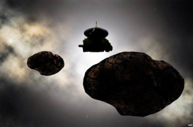 Artist's concept of the New Horizons spacecraft flying by a possible binary 2014 MU69 on Jan. 1, 2019.
