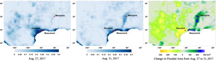 Data from NASA's Soil Moisture Active Passive (SMAP) satellite have been used to create new surface flooding maps of Southeast Texas and the Tennessee Valley following Hurricane Harvey.