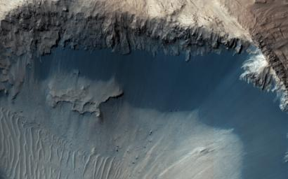 This image from NASA's Mars Reconnaisance Orbiter (MRO) shows one possible place where sand grains are being produced on Mars today. Grains of sand that make up sand dunes on Earth and Mars have a hazardous existence because of the way that they travel.
