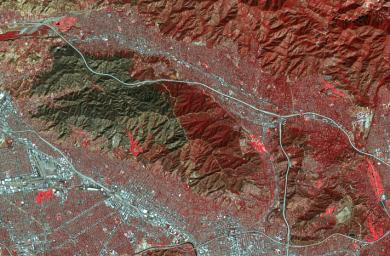 On Sept. 1, 2017 NASA's Terra satellite captured this image of the area the La Tuna Canyon fire began in the foothills north of Los Angeles.