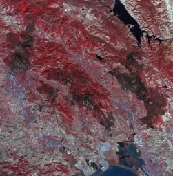 As firefighters continue to work toward full containment of the rash of wildfires burning in Northern California, this image from NASA's Terra satellite acquired on Oct. 21, 2017, shows the growing fire scar on the landscape.