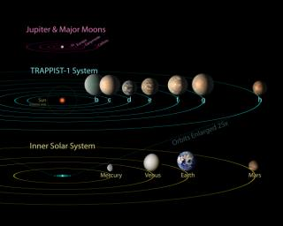 All seven planets discovered in orbit around the red dwarf star TRAPPIST-1 could easily fit inside the orbit of Mercury, the innermost planet of our solar system. In fact, they would have room to spare.